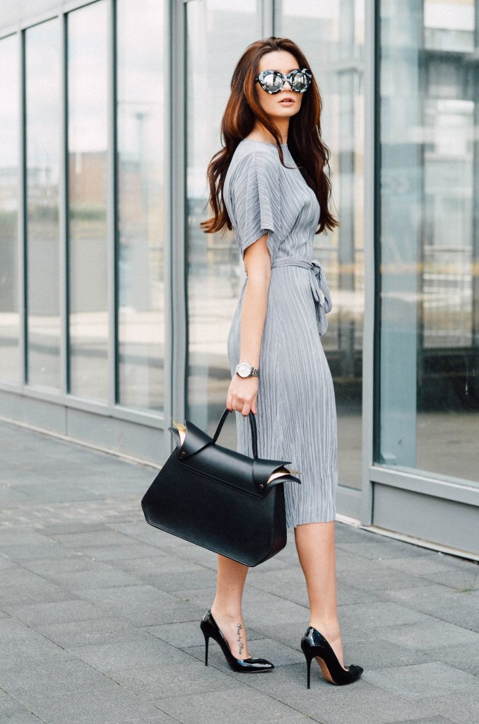 Pleated Grey Dress